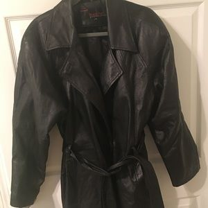 Women's fake black leather jacket